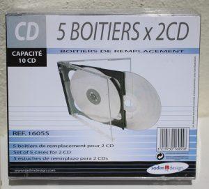 Lot de 5 boitiers x2 CD vierges