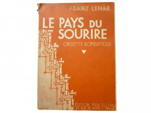 Partition LE PAYS DU SOURIRE de Franz Lehar